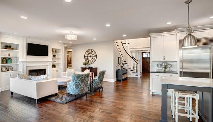well-designed large living room space
