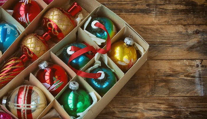 How should I organize my Christmas decorations for storage?